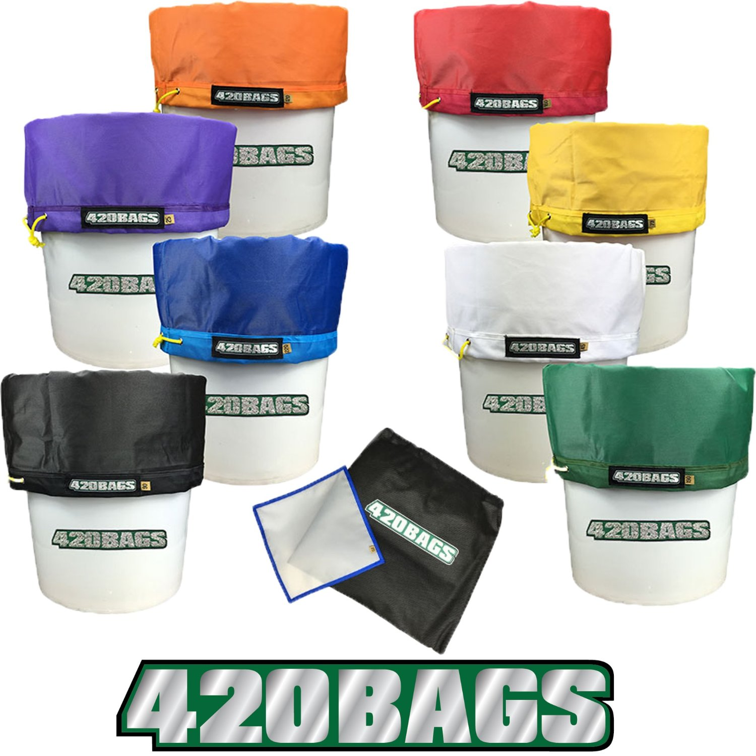 420 BAGS Bubble Bags 5 Gallon 8 Bag Set - Herbal Ice Bubble Bag Essence Extractor Kit - Comes with Pressing Screen and Storage Bag