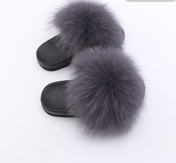 c7fd12614 Women Fur Slippers Real Fox Fur Sandal Shoes Fluffy Furry Flip Flops ...