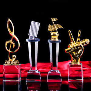 Custom Crystal Music Trophies, Crystal Microphone Trophy, The Voice Of China Crystal Trophy customized excellent staff Medal