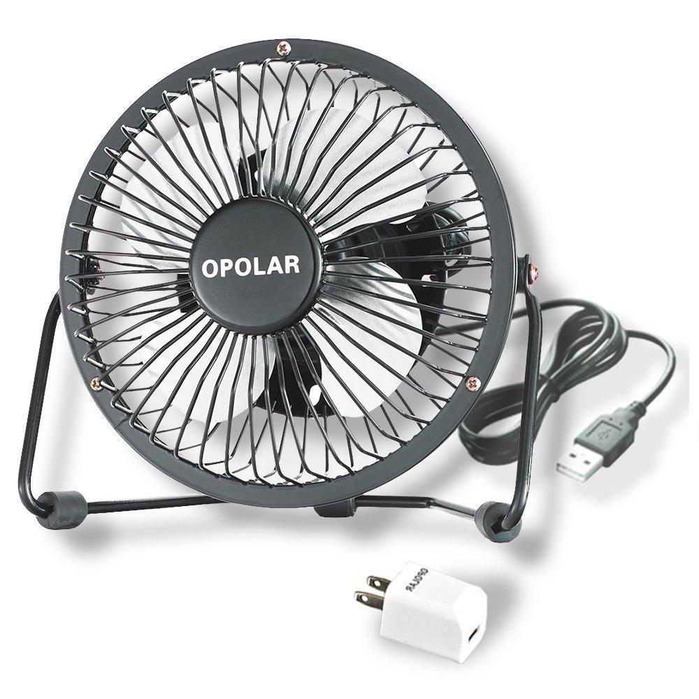 OPOLAR Mini USB Fan (Personal Desktop Fan, Metal Design; 3.9 feet USB Cable, Quiet Operation - Black)