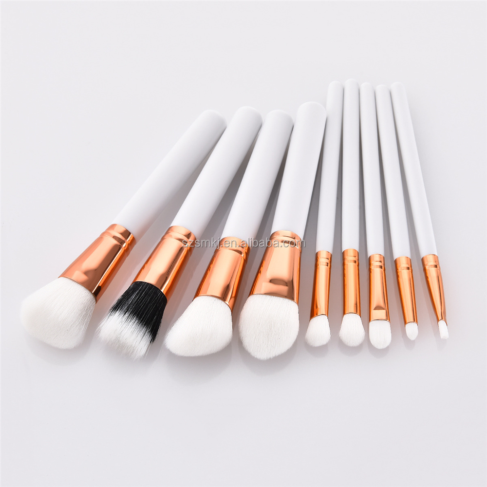 9 stücke Make-Up Pinsel Weiß Foundation Erröten Pulver Blending Augenbrauen Kosmetik Bilden Pinsel Lidschatten Fan Textmarker Pinsel