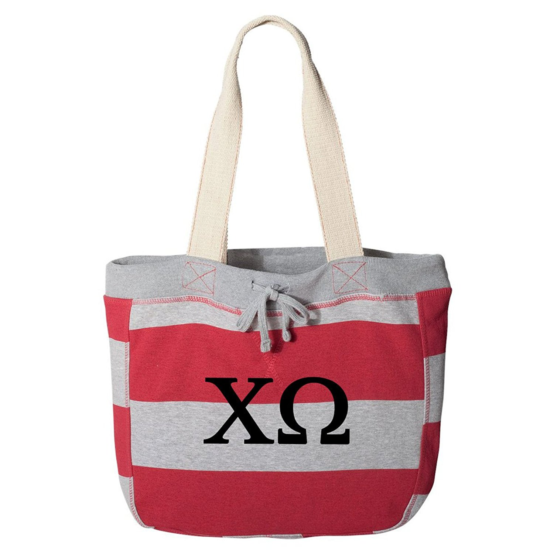 Chi Omega Striped Beachcomber Tote Bag