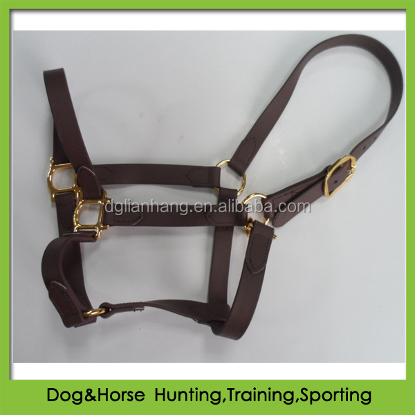 PVC coated polyester webbing headstall for horse racing brown color