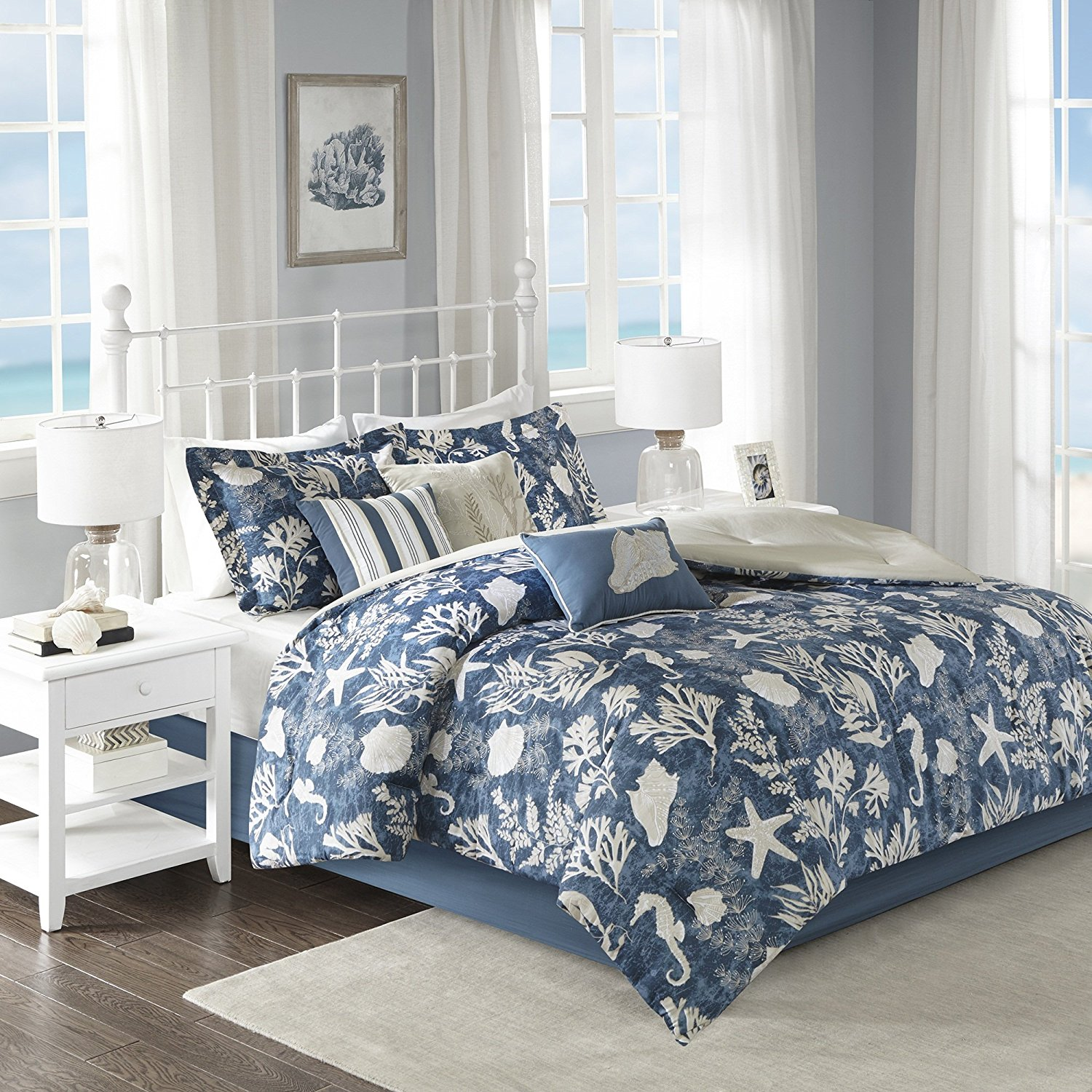 7 Piece Modern Mid-Century Coastal Pattern Comforter Set Cal King, Allover Motifs Sea Horse, Star Fish Printed Design, Casual Novelty Seaside Themed, Gorgeous Nature Look Bedding, Navy, Taupe Color