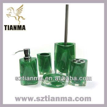 2013 new design dark green resin bathroom accessories set for Dark green bathroom accessories