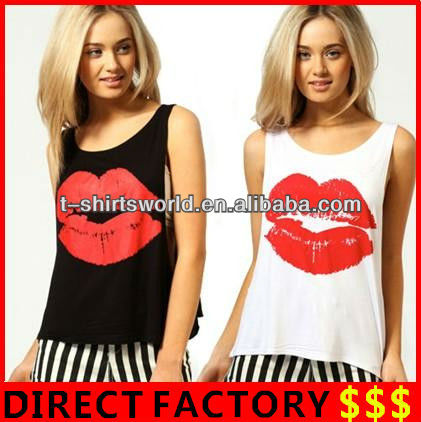 Wholesale Women's Large Lip Printing Ameriacn Apparel made in Xiangshan Factory