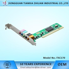 High quality 5.1 Channel 3D Audio Card pci sound card with C-MEDIA 8738 Chip