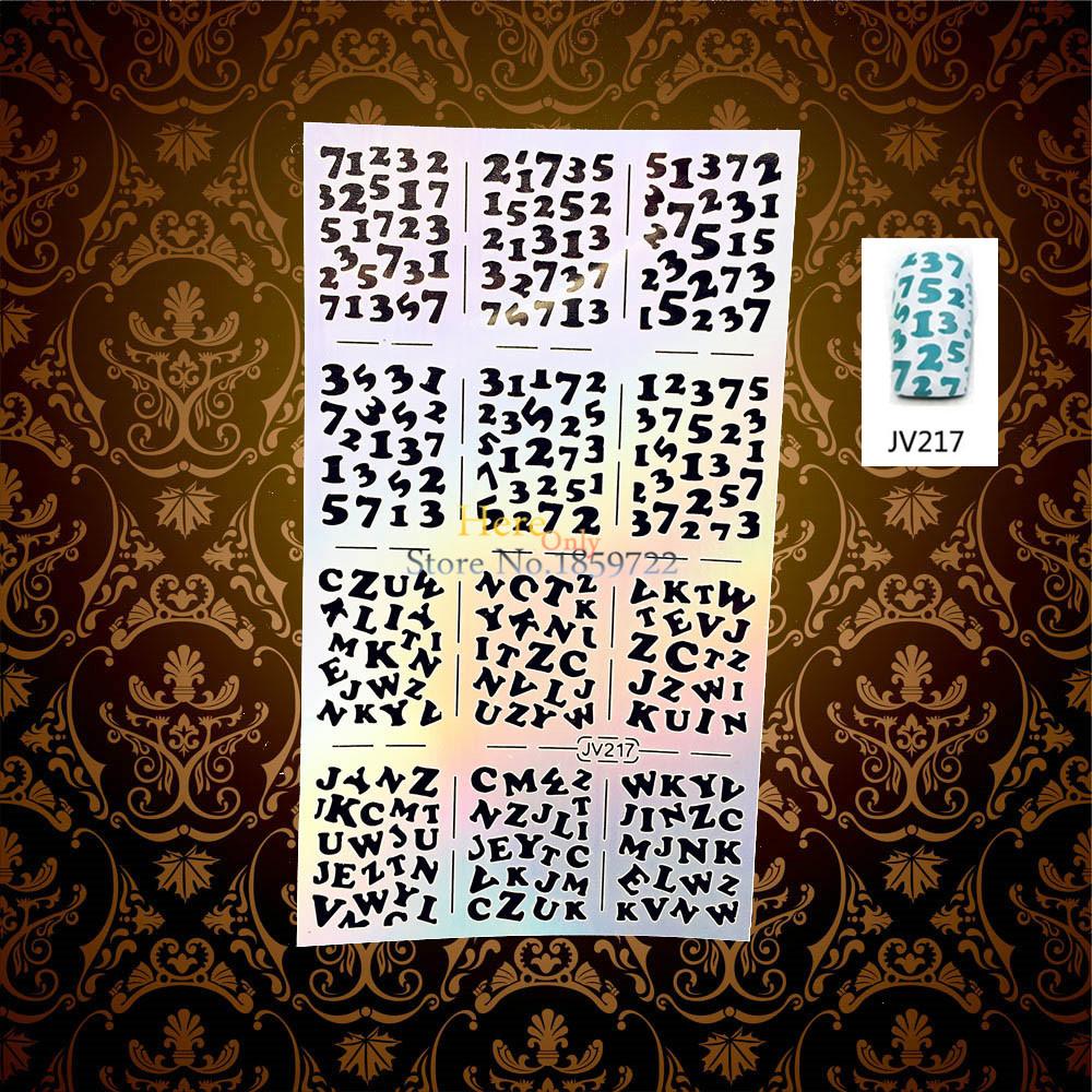 Arabic Numerals Pattern Hollow Flash Nail Stencil Polish Painting Template HJV217 English Alphabet Letter Nail Foil