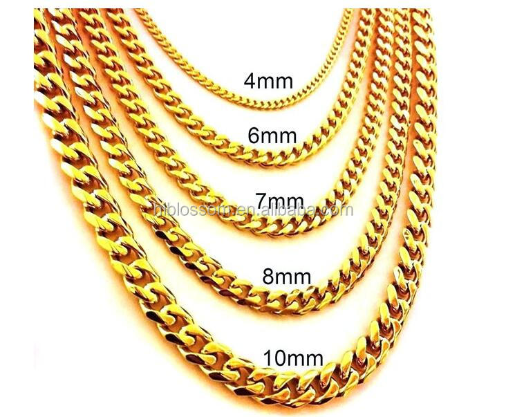 New gold chain design for men, 316 stainless steel dubai gold jewelry