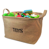 Coffee Sturdy Line Canvas Kid Toy Organizer Bag, Toy Storage Basket/ Storage Box