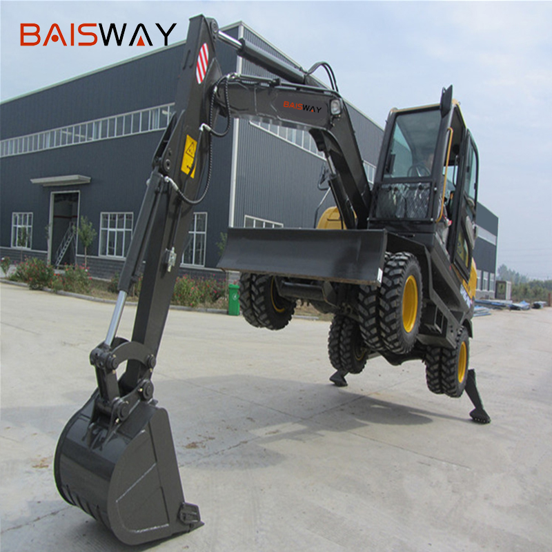 factory 8 ton 52 KN bucket digging force tire excavator for sale