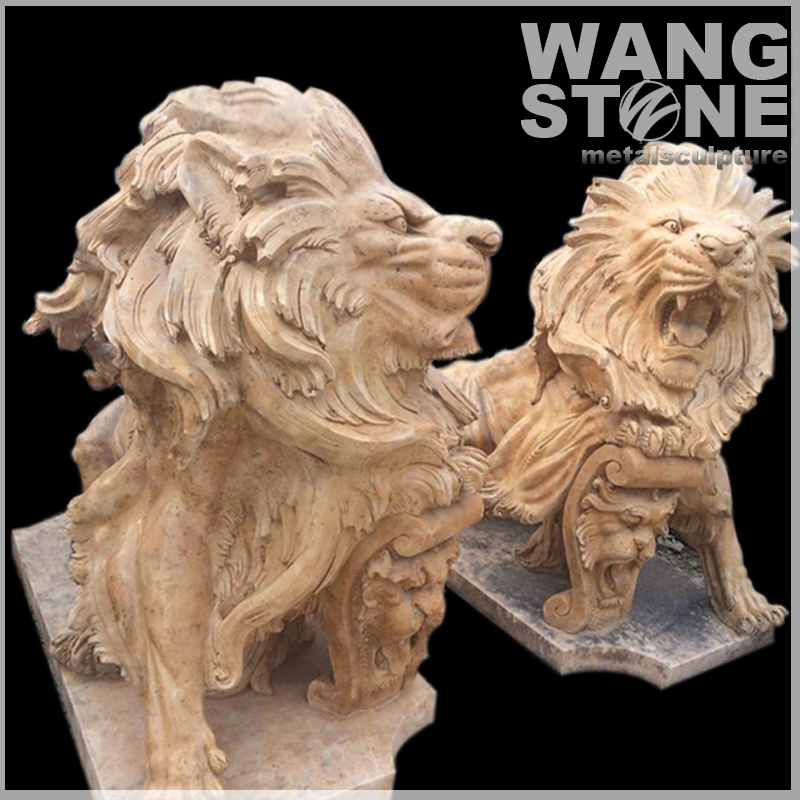 Hand Carved Life Size Beige Stone Lion Statue for Sale
