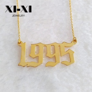 Custom Promotion Stainless Steel Birth Year Pendant Number Necklace