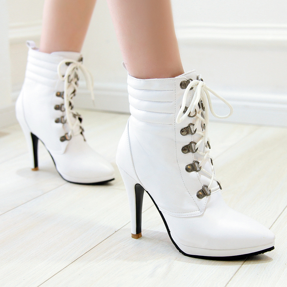 Ladies White Ankle Boots Bsrjc Boots