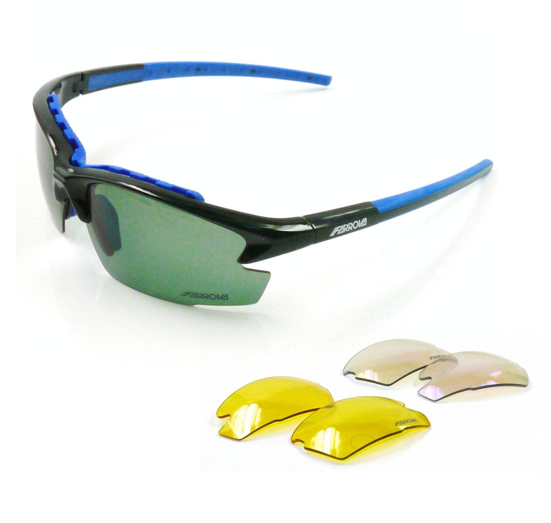 70afd830c12 Get Quotations · FARROVA - AX102P POLARIZED Sports Sunglasses with 3 Set  Interchangeable Lenses (Main Black Grey Lenses
