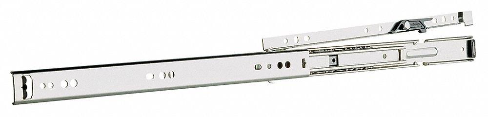 Rail Mount Drawer Slide, Handed Rail Lift-Off, Soft Close, Extension Type: Full, 2 PK
