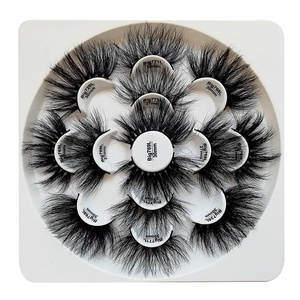 Hot selling New Products 25MM 30MM Big 7 Pair 3D Mink False Eyelashes Eyelashes With Flower Trays Packaging