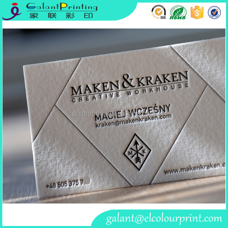 LETTERPRESS embossed business cards name card on 1mm thick cotton paper