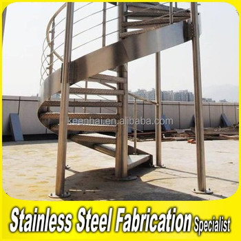 Industrial Stainless Steel Safety Railings Outdoor Spiral Staircase