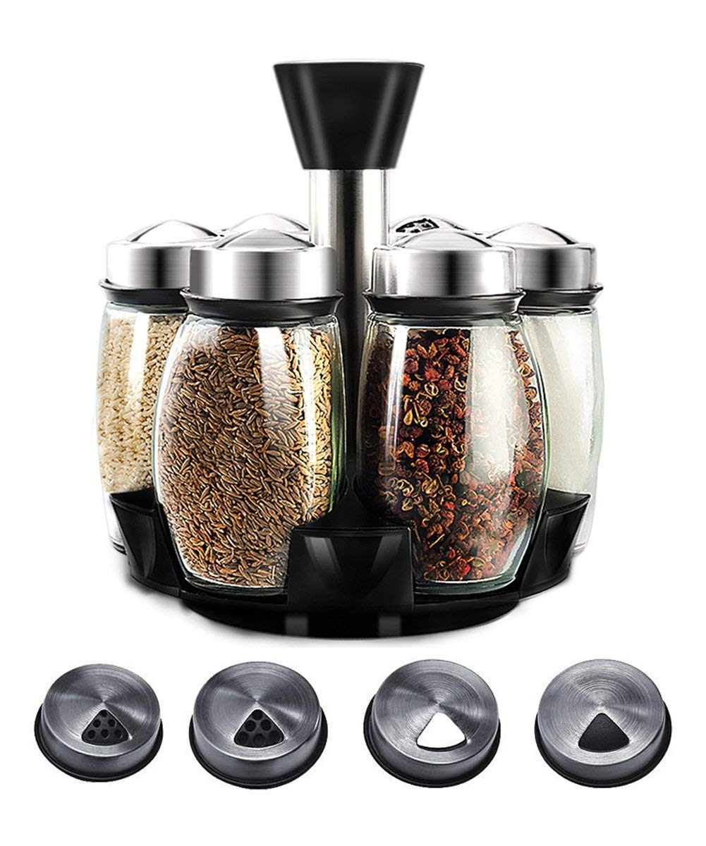 DearDo Herb and Spice Rack with 6 Glass Jar Bottles - Revolving Countertop Carousel Herbs and Spices Set for Kitchen Counter