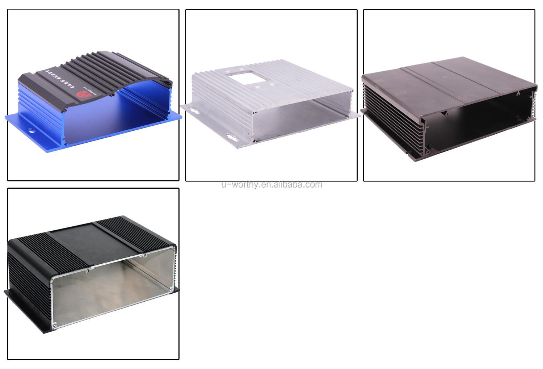 Anodizado prata recortes personalizados cnc usinadas em alumínio extrudado habitação pcb eletrônico, caixa de embalagem de alumínio, extrusões de alumínio