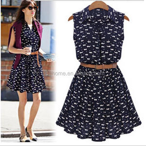Summer dress 2016 Fashion cotton cat footprint sleeveless lapel collar women maxi dress plus size vestidos de festa