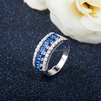 funny silver dark blue zircon engagement ring on 2017