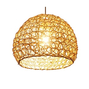 Southeast Asia Modern Style Rattan Lamp Shade Hanging Pendant Light Restaurant Decorative Price Cheap Vintage Woven Bamboo Lamp