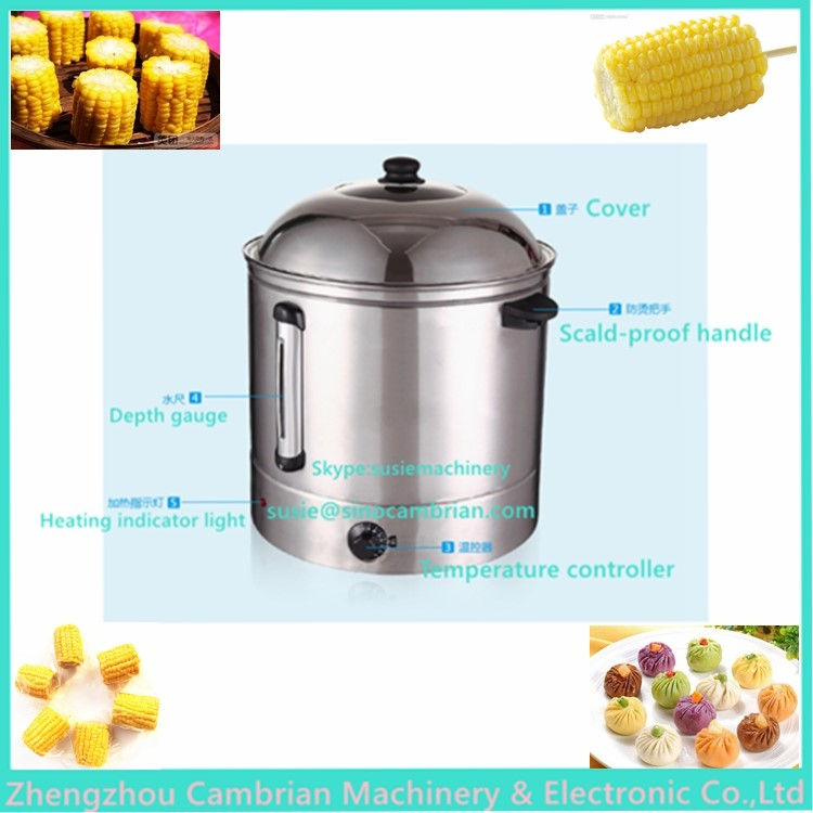 Safety auto-off digital control electric 48l sweet corn steamer with divided partion