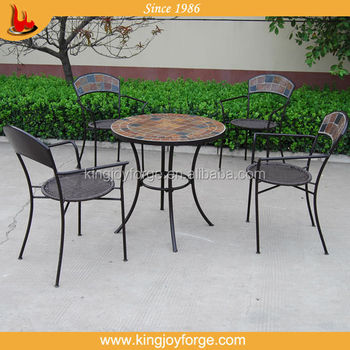 Garden 2 4 Person Dining Table And Chair Slate Top Bistro Set