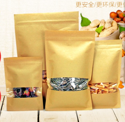 180*260 mm kraft paper bag with window flat bottom kraft paper bag for <strong>food</strong>