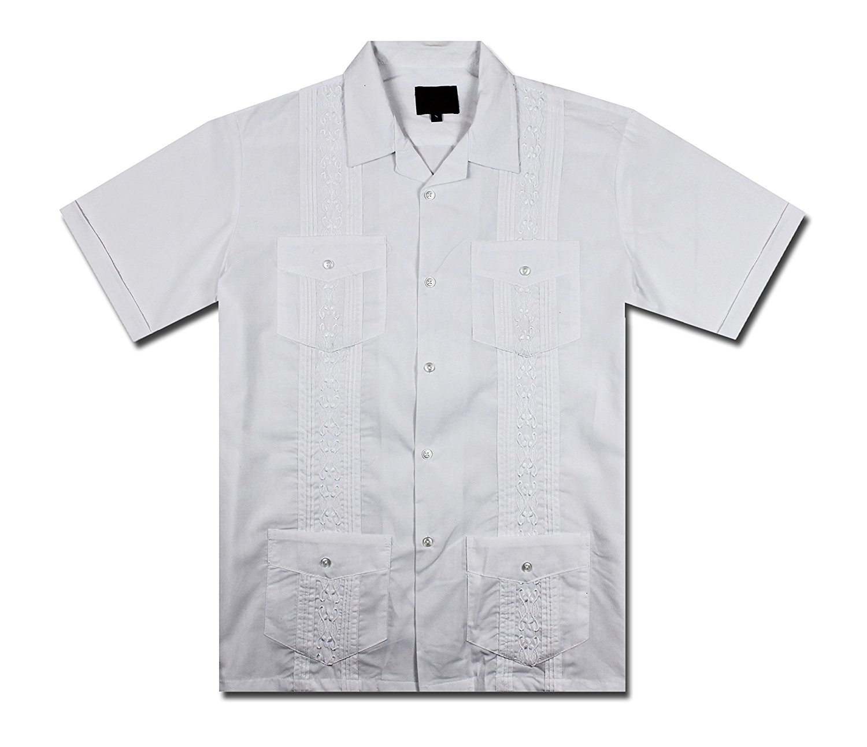 5797d9e7262 New Guayabera Men s Cuban Style Bartender Wedding Button Down Dress Shirt