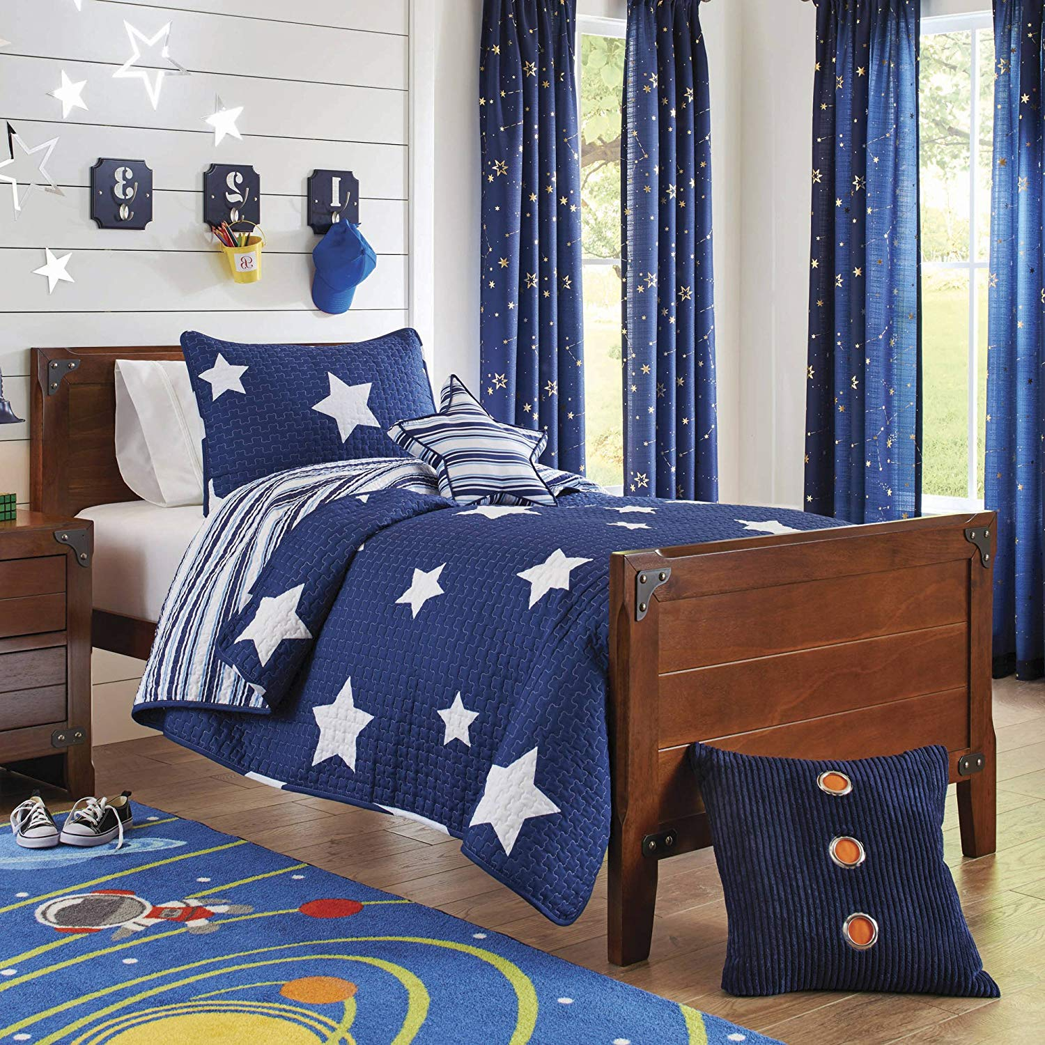3 Piece Boys Navy Blue Planets Stars Quilt Twin Set, White Color Space Pattern Planets Design, Kids Bedding For Bedroom, Modern Contemporary Universe Themed Teen Striped, Polyester Microfiber