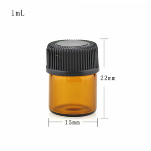 1/4 Dram 1ml clear mini glass vial/comestic bottle with Taiwan plastic screw cap