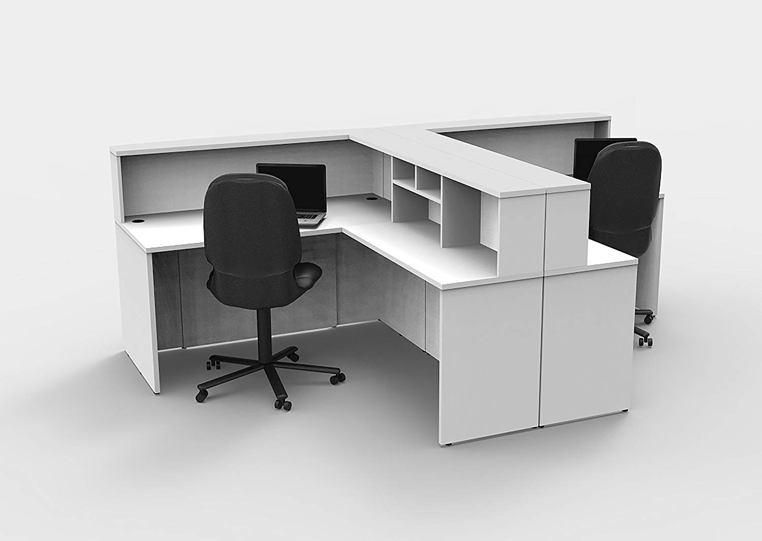 Office Reception Desk Reception Corner Collaboration Furniture Model 4305 8 Pc Group Contemporary White color. Update Your Spaces with Commercial Grade Reception Collaboration Furniture.