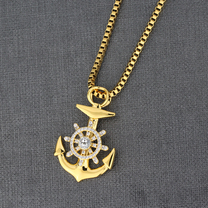 Gold anchor pendant necklace new design stainless steel anchor what is the pendant made of aloadofball Images