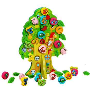 2018 Wholesale Fruit Tree Beaded Wooden toys Threading Toys Puzzle Educational Toys