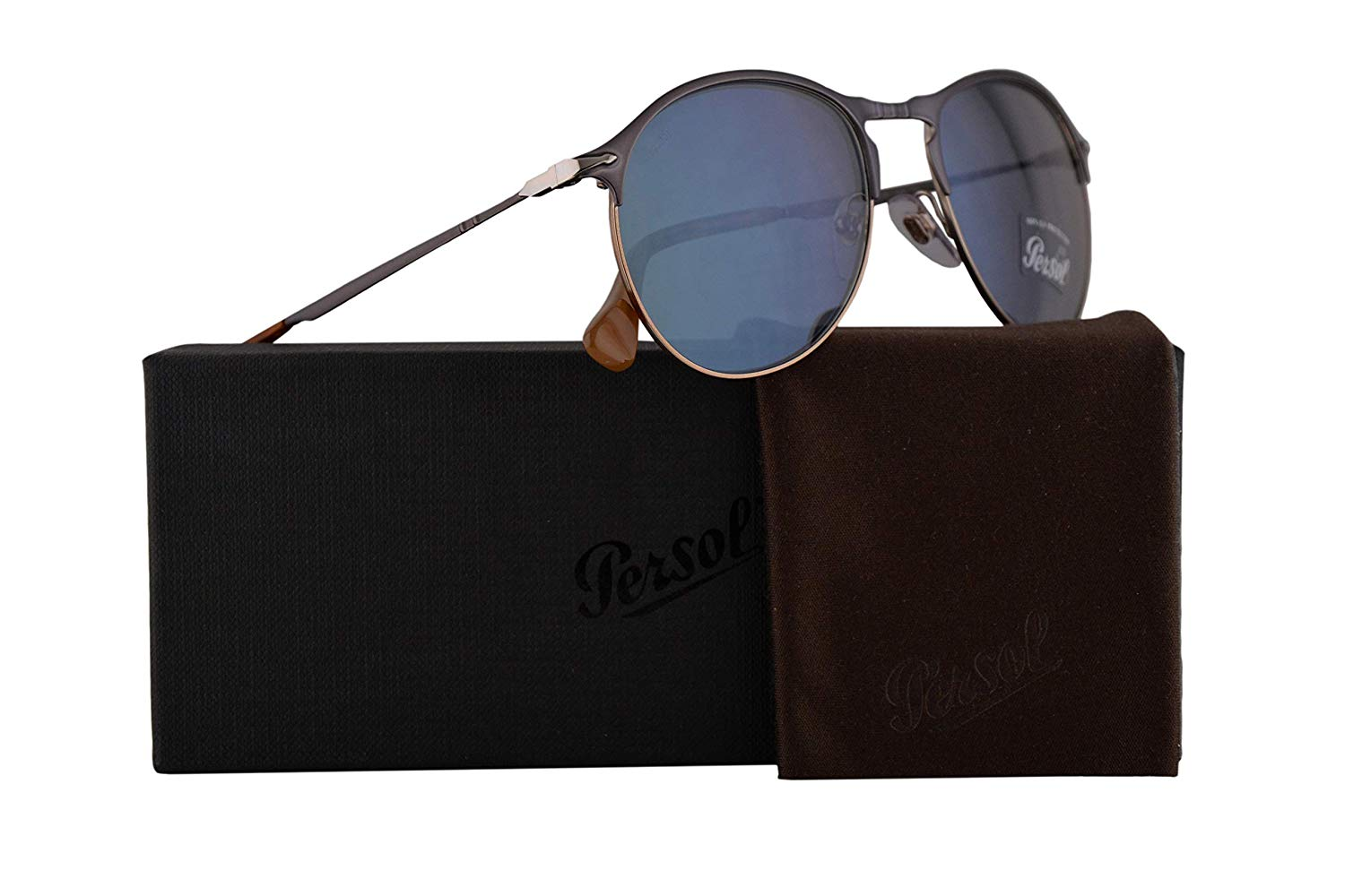 11590f0a37 Get Quotations · Persol PO7649S Sunglasses Blue Light Brown w Light Blue  Lens 53mm 107156 PO 7649-