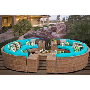 14 Seaters Circular Full Round Patio Furniture With Drink Table Sectional Rattan Outdoor Sofa Bed