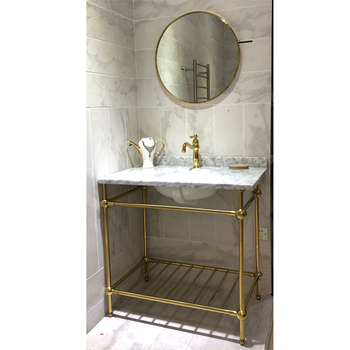 Gold Stainless Steel Frame Marble Stone