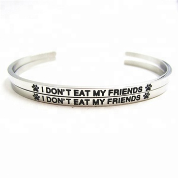 Wholesale Fashion Cuff Bangle Stainless Steel Men Silver Engrave
