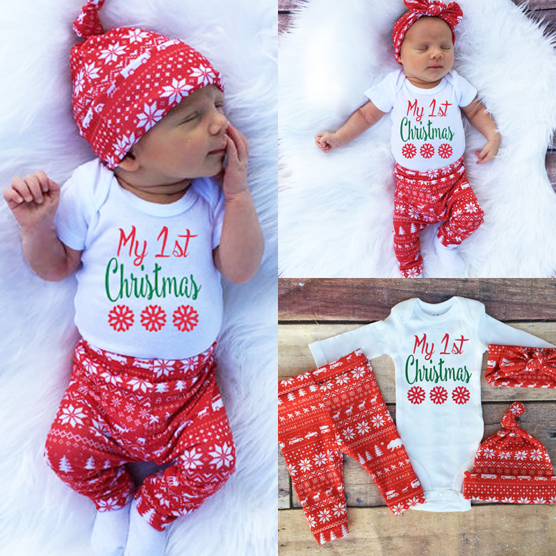 fa2e0341d54b Detail Feedback Questions about Newborn Baby Boys Girls Tops Romper Pants  Hat 3PCS Outfits Set Christmas Clothes on Aliexpress.com | alibaba group