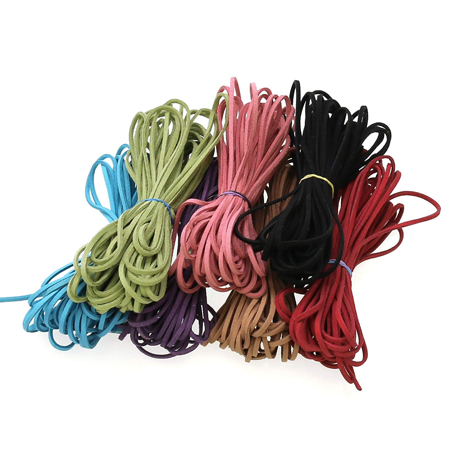 Get Quotations · 7 Colors Each 10 Yards Micro-Fiber Flat Leather Lace  Beading Thread Faux Suede Cord
