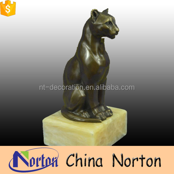 outdoor ornaments life size bronze big cat statue for sale NTBA-C076X