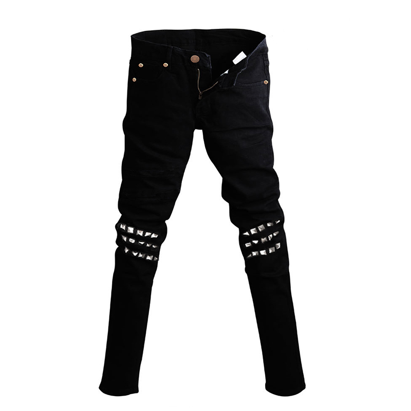 Male Cool Black Jeans Punk Denim Pants Trend Models Rivet ...