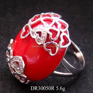 Fashion Silver Jewellery Online, Red Stone Ring, Silver Ring With Big Red Stone