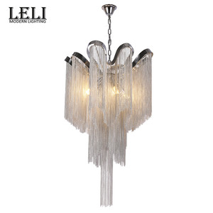Designer lamps pendant luxury lighting silver chain chandelier