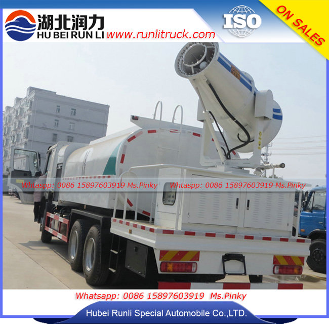 HOWO 15Tons Coal Yard Spraying Water Truck with High pressure electric 80m sprayer for Coal Dust Control