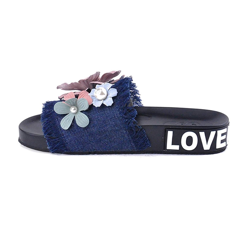 GIY Women's Denim Flowers Flat Summer Beach Sandals Platform Slide Anti-Slip Outdoor Comfort Slippers
