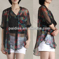 2014 latest new model of ladies elegant new fashion chiffon fabric blouse